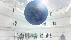 Diesen Anblick erhaschen sonst nur Astronauten im All: Der im Raum schwebende Globus, stellt erdumfassende Prozesse dar, zum Beispiel Erderwärmung, Windverhältnisse oder Landnutzung sowie ihre komplexen Zusammenhänge. Bild: Atelier Brückner GmbH