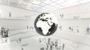 Auch das weltweite Forschungsnetzwerk Senckenbergs kann auf der Oberfläche aus OLED-Platten visualisiert werden. Bild: Atelier Brückner GmbH