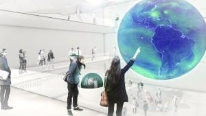 Alle Daten sind zudem individuell auf kleinen interaktiven Stationen und Globen abrufbar. Bild: Atelier Brückner GmbH