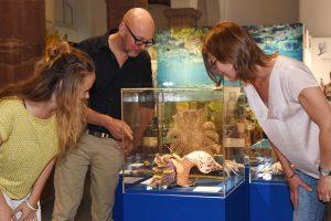 Kuratorin Stefanie Raddatz, Museumsleiter Dr. Bernd Herkner und Biologin Jenny Krutschinna von Reef Check e.V. beim Rundgang durch die Ausstellung.