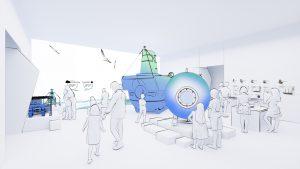 """Visualisierung des Raums """"Meeresforschung"""" (Eröffnung 19.12.2019). Visualisierung: Atelier Brückner"""