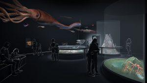 """Visualisierung des Raums """"Tiefsee"""", (Eröffnung 19.12.2019). Visualisierung: Atelier Brückner"""